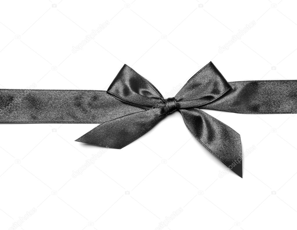 Black Ribbon Bow Black ribbon bow isolated on