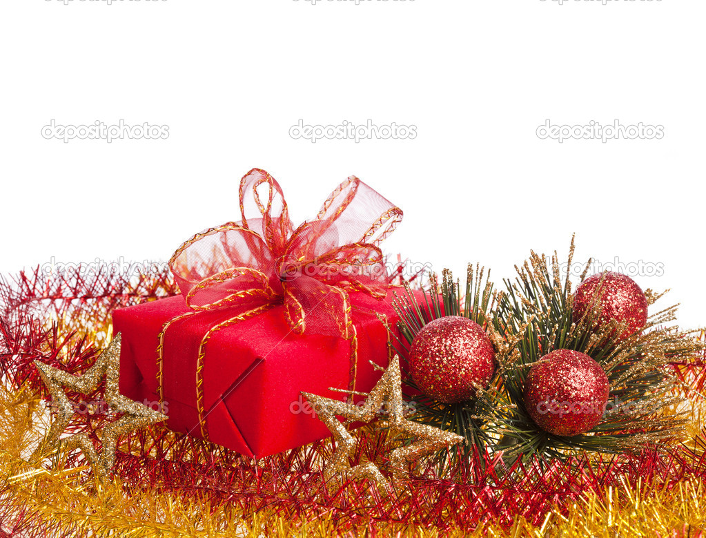 Christmas gift box on white background — Stock Photo #13836808