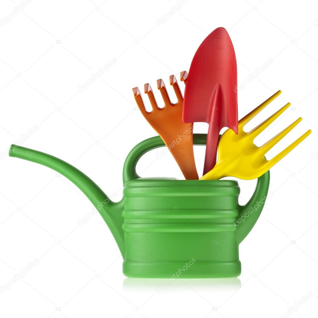 Colorful gardening tools watering can bucket spade for Gardening tools watering