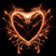 Stock Photo: Sparkler heat heart, Saint Valentine card
