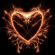 Sparkler heat heart, Saint Valentine card — Stock Photo