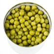 Green peas in a can, canned isolated on white background — Stock Photo