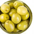 Green olive in a can, canned isolated on white background — Stock Photo