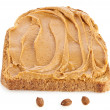 Stock Photo: Peanut butter sandwich and peanuts on white background