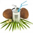 Stock Photo: Coconut drink cocktail and coconut. Isolated on white background