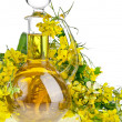 Bottle Decanter oil with Flower Rape Mustard isolated on white background - Stock Photo