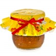 Fig jam in glass on white background — Stock Photo #13992861