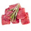 Meat with rosemary isolated — Stock Photo