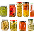 Canned vegetables in glass jars isolated on white background — Stock Photo