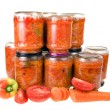 Salad vegetables canned in glass jars - Stock Photo
