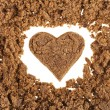 Muscovado brown sugar heart shaped surface - Стоковая фотография