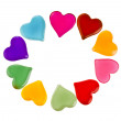 Decorative frame of colorful shaped heart gel isolated on white background — Stock Photo #13999892