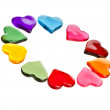 Decorative frame of colorful shaped heart gel isolated on white background — Stock Photo #13999894