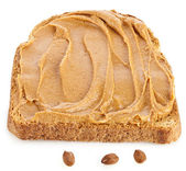 Peanut butter sandwich and peanuts on white background — Stock Photo