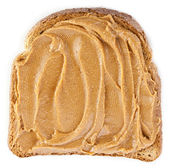 Peanut butter sandwich on white background — Stock Photo