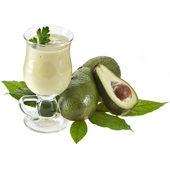Frullato di avocado su tovagliolo da cucina isolato su sfondo bianco — Foto Stock