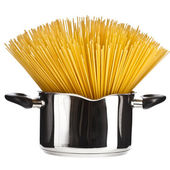 Pasta spaghetti in pot pan isolated on white — Stock Photo