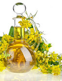 Bottle Decanter oil with Flower Rape Mustard isolated on white background — Stock Photo