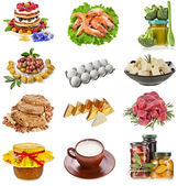 Collection of Tasty and healthy natural food, eating, on a white background — Stock Photo