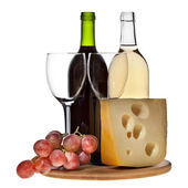 Grape wine with cheese isolation — Stock Photo