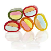 Colorful chewing candies isolated on white — Stock Photo