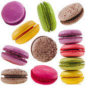 Colorful macaroons isolation on a white background — Stock Photo