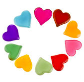 Decorative frame of colorful shaped heart gel isolated on white background — Foto de Stock