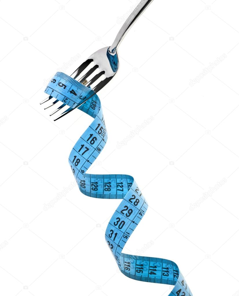 Fork with measuring tape isolate on white — Stock Photo #13991555