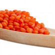 Split red lentils over the wooden spoon isolated on white - Stock Photo