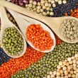 Royalty-Free Stock Photo: Lentils, beans, peas, soybeans, legumes with spoons textured background