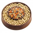 Soybean and a variation of lentils in a wooden bowl isolated on white background — Stock Photo