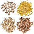 Different kinds group grains: pearl barley, millet, wheat semolina, buckwheat, isolated on white — Stock Photo