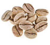 Green unroasted coffee beans isolated — Stock Photo