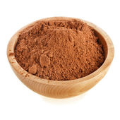 Cocoa powder in a bowl isolated on white background — Stock Photo