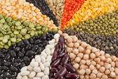 Mescolare da diversi fagioli, piselli, lenticchie, legumi — Foto Stock