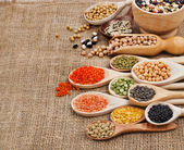 Various food ingredients: beans, legumes, peas, lentils in wooden spoon on the sackcloth background — Foto Stock