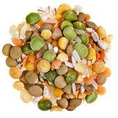 Mix of Split Peas, Lentils, Legume, Rice, Isolated on White Background — Stock Photo