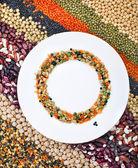 Lentils, beans, peas, soybeans, legumes — Stock Photo
