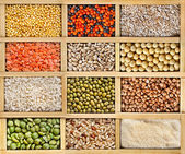 Collection of lentils, beans, peas, grain, groats, soybeans, legumes in wooden box — Stock Photo