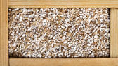 Wheat grain milled ground in wooden frame box — Stock Photo