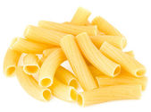 Uncooked pasta tubes rigatoni isolated on white background — Stock Photo