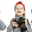 Boy with camera, isolated on a white background — Stock Photo