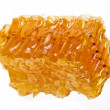 Golden honeycomb wax cell detail slice isolated on white background - Stock Photo