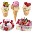 Ice cream with fresh berries collection Isolated on white — Stock Photo