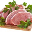Meat pork with herb parsley isolated on white — Stock Photo #14128271