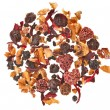 Herbal fruit tea with petals and dry berries isolated on white background — ストック写真