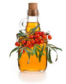 Sea-buckthorn berries and oil on a white background — Stock Photo