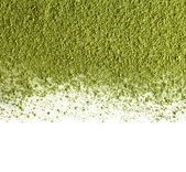 Border of powdered green tea isolated on white background — Stock Photo