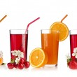 Fresh cherries, apricots, strawberries and juice glass isolated on white — Stock Photo