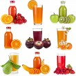 Collection of Bottles glass juice of fresh berries and fruits isolated on white — Stock Photo